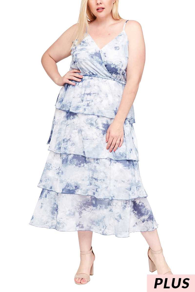 LD-M {My Head In The Clouds} SALE!! Blue Tie-Dye Maxi Dress With Adjustable Spagetti Straps PLUS SIZE 1X 2X 3X