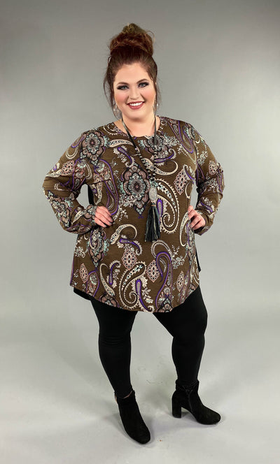 CP-B {Set Your Sights} Brown Paisley Contrast Hi-Lo Top Extended Plus