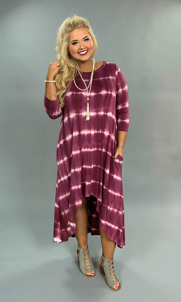 LD-Z {Trending Now} PLUM Tie-Dye Print Hi-Lo Dress