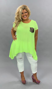 SD-Z{Refreshing Limeade} Neon Top W/Sequined Pocket PLUS SIZE 1X 2X 3X SALE!!