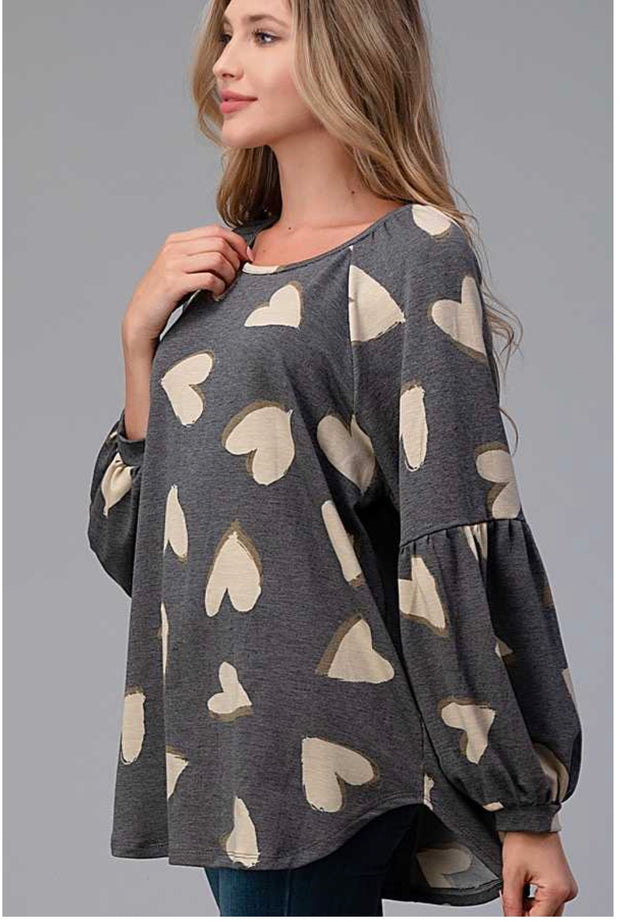 11-14 PLS-D {All Of My Heart} Grey Oatmeal Heart Top PLUS SIZE XL 2X 3X