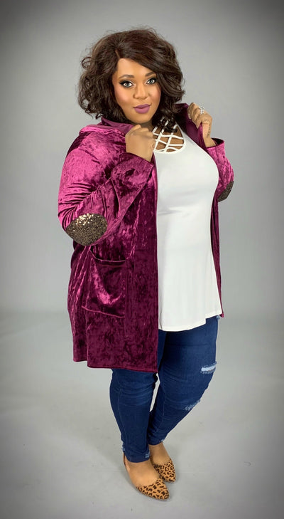 OT-O (Extended Plus) Magenta Velvet Cardigan with Sequin Elbow Pads  SALE!