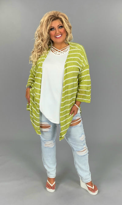 OT-I {Perfect Pear} Medium Green Striped Cardigan PLUS SIZE 1X 2X 3X SALE!!