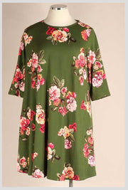 PQ-O {Wall Flower} Green Pink Flower 3/4 Sleeve Dress BUTTER SOFT EXTENDED PLUS SIZE 3X 4X 5X