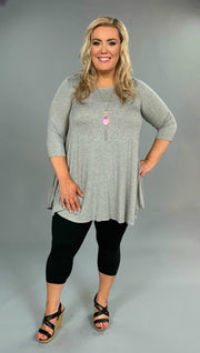 SQ-B {Lounging Around} Heather Gray Top with 3/4 Sleeves