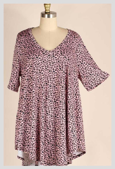 PSS-M {Earn A Spot} Mauve Leopard Print V-Neck Tunic EXTENDED PLUS SIZE 3X 4X 5X