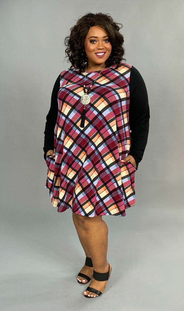 CP-R {Changed My Life} Berry/Multi-Plaid Knit Contrast Extended Plus  SALE!!