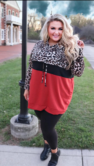 14 HD-D {Have To Stay} SALE!! Rust Black Leopard Hoodie CURVY BRAND EXTENDED PLUS 3X4X 5X 6X