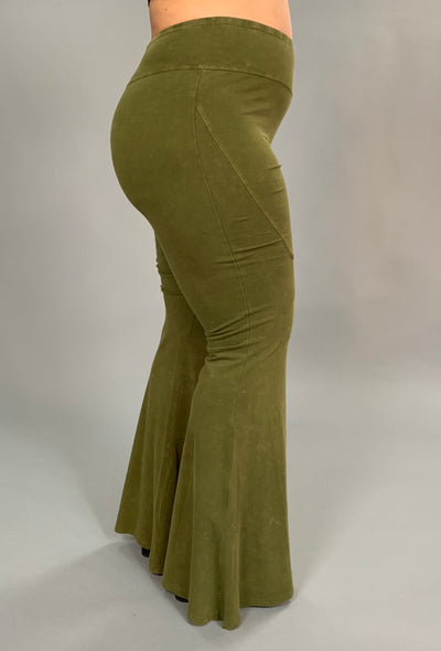 "BT-P ""UMGEE"" Olive Prewashed Cotton Flared Leg Pants SALE!"