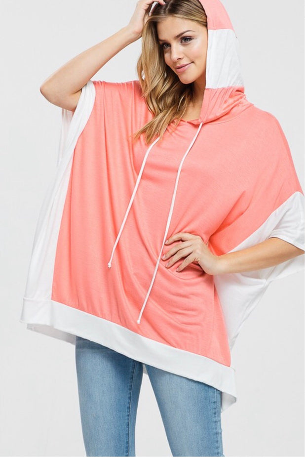 HD-I {Radiant Smile} Coral/Off-White Hoodie with Split Sides  SALE!!