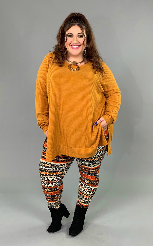SLS-C {You Sang To Me} Camel Waffle Knit Top with Split Sides PLUS SIZE 1X 2X 3X SALE!!