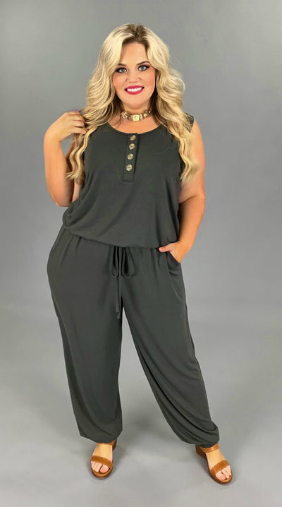 RP-G {One And The Same} Charcoal Jumpsuit with Button Detail/Elastic Waist & Ankle PLUS SIZE 1X 2X 3X
