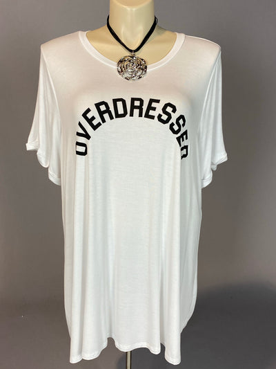 "GT-L {Overdressed} White Graphic Tee ""Curvy Brand"" EXTENDED PLUS SIZE 3X 4X 5X 6X"