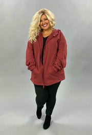 OT-B {Comfy Chic} SALE!! BRICK Hoodie Jacket with Full Zipper  PLUS SIZE 1X 2X 3X