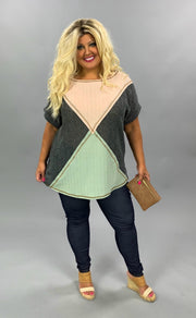 CP-J {Stitched Together} Charcoal Tunic W/Tan & Green Contrast PLUS SIZE 1X 2X 3X