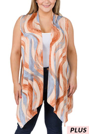 OT-X {Sahara Nights} Carmel/Blue Vest with Brush Stroke Design PLUS SIZE 1X 2X 3X