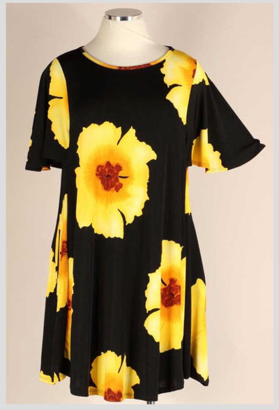 PSS-Q {Feeling Sunny} Black Yellow Flowers Flutter Sleeve Dress EXTENDED PLUS SIZE 3X 4X 5X