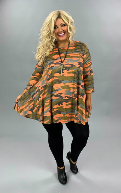 PQ-G {Let's Rewind} Bright Orange & Green Camo Tunic EXTENDED PLUS SIZE 3X 4X 5X