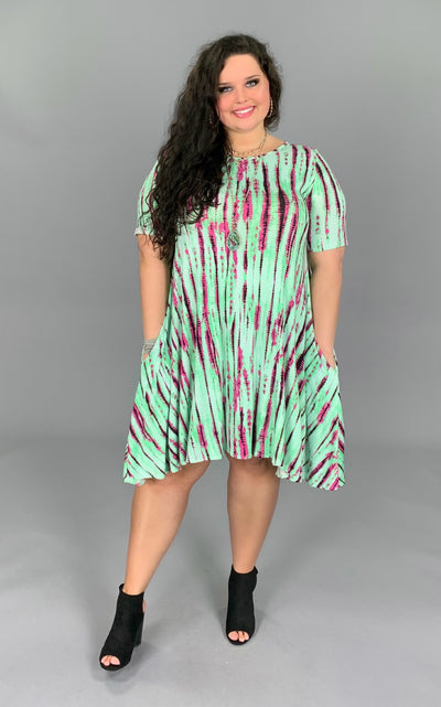 PSS-G {Take Me There} Mint Dress with Magenta Tie-Dye Print PLUS SIZE 1X 2X 3X