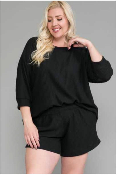 48 SET-A {Feeling Relieved} Black Waffle Shorts Lounge Set EXTENDED PLUS SIZE 4X 5X 6X