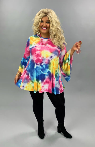 PQ-B {Color Splash} Pink Blue Watercolor Bell Sleeve Tunic PLUS SIZE 1X 2X 3X
