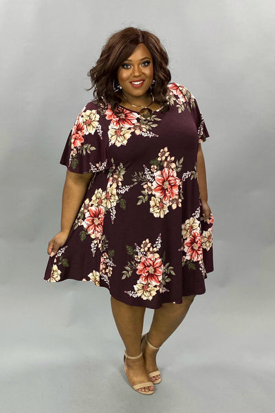PSS-O {Fall Beauty} Burgundy Flutter Sleeve Dress Pink Flowers EXTENDED PLUS SIZE 3X 4X 5X