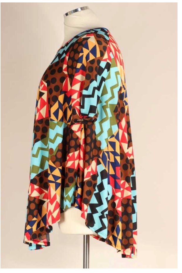 PSS-C {Like I Do} Brown & Teal Geometric Shapes Print Tunic *ARMS SMALL* EXTENDED PLUS SIZE 3X 4X 5X