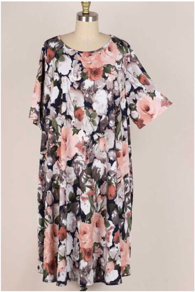 52 PSS-Q(Garden Walk) Blush/Navy Rose Print Dress 3X4X5X Extended Plus