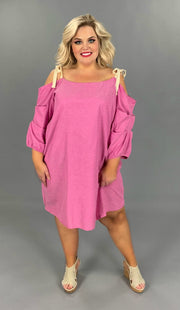 OS-S {Strawberry Shake} Pink Dress with Ruched Sleeves  SALE!!
