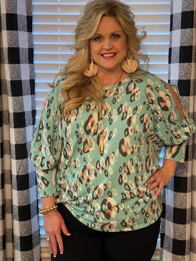 48 PQ-B {Style It Up} Mint Leopard Spot Print Knit Top PLUS SIZE XL 2X 3X