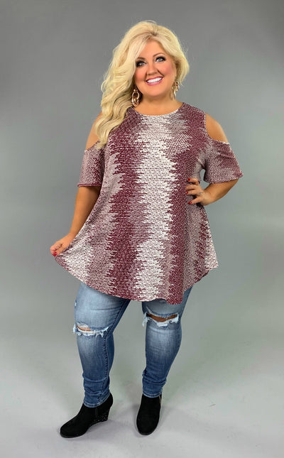 OS-Z {Good Luck} Wine/Ivory Printed Tunic Extended Plus  SALE!!
