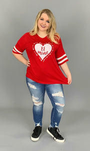 "GT-X ""BE MINE"" Red V-Neck Jersey Top"