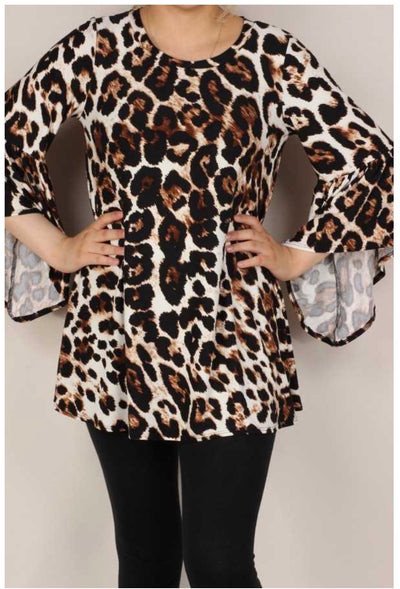 PQ-Z {My Spirit Animal} Tan & Ivory Animal Print Tunic EXTENDED PLUS SIZE 4X 5X 6X
