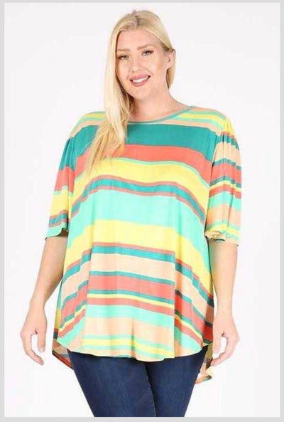 54 PSS-T {Don't Leave Striped} Yellow Green Striped Tunic EXTENDED PLUS SIZE 3X 4X 5X
