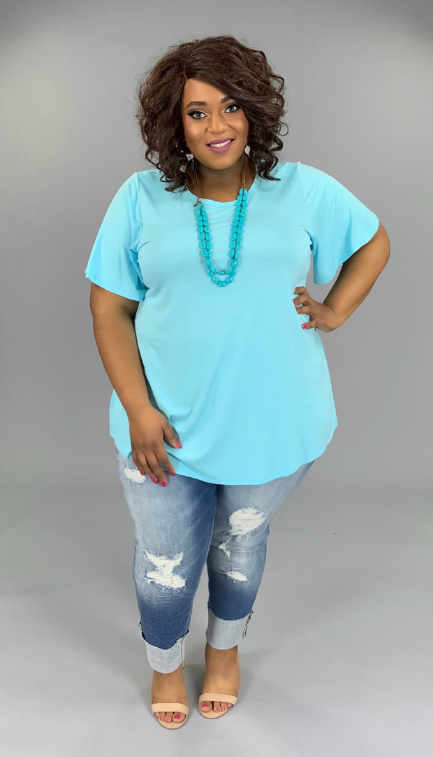 SSS-M (Bring On Summer) Baby Blue Top W/ Rounded Hem EXTENDED PLUS 3X 4X 5X 6X