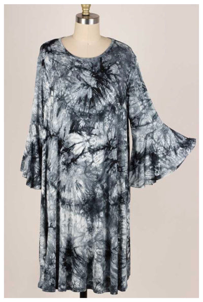 PQ-B {New Mantra} Black Grey Tie Dye Bell Sleeve Dress EXTENDED PLUS SIZE 3X 4X 5X
