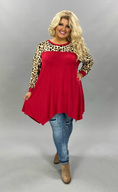 10-21 CP-A {A Little Luck} Red Leopard Contrast Tunic CURVY BRAND EXTENDED PLUS SIZE 3X 4X 5X 6X
