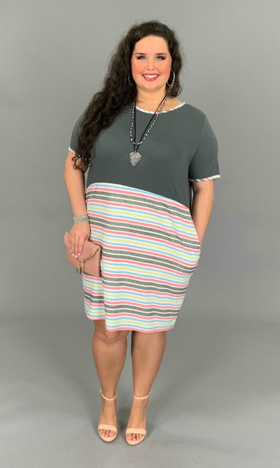 CP-B {Feeling Free} Charcoal Dress with Pink Striped Contrast PLUS SIZE 1X 2X 3X