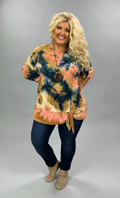 PQ-B {Forget My Worry} Mocha Pink Navy Tie Dye Knot Hem Tunic BUTTER SOFT EXTENDED PLUS SIZE 4X 5X 6X
