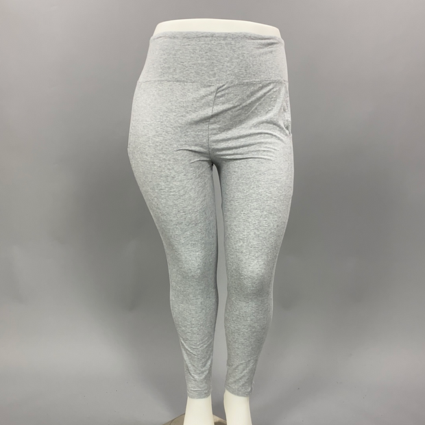 LEG-05 {Get It Done} Light Grey Cotton Leggings W/Pockets PLUS SIZE XL 2X 3X