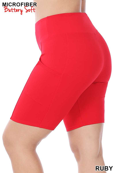 54 BT-C {Get Inspired} Red Bike Shorts with Pockets PLUS SIZE 1X 2X 3X