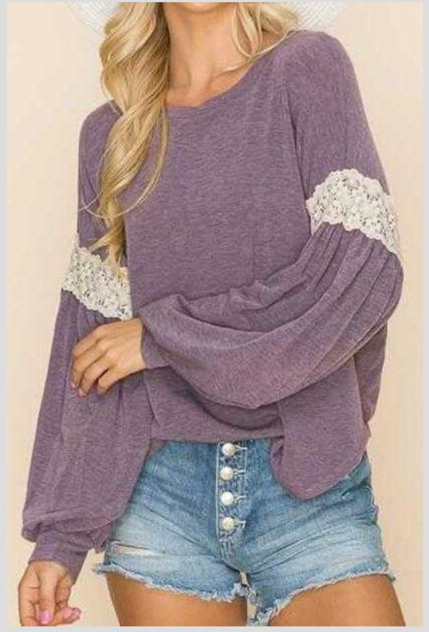 20 SD-B {Fall Delight}  SALE!! Dusty Purple Crochet Detail Top PLUS SIZE XL 2X 3X