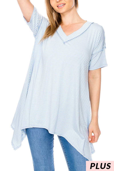 PSS-B{Inside Out}Lt. Blue Striped Tunic PLUS SIZE