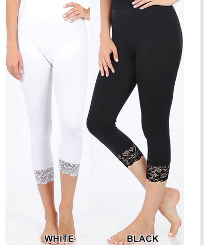 PLS/W {Curvaceous} White Leggings W/ Lace Hem