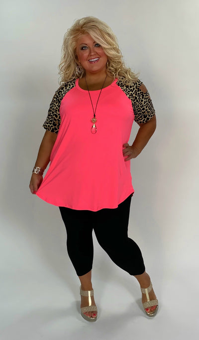 OS-Z {Party Girl} Neon Pink Leopard Print Contrast Top Extended Plus