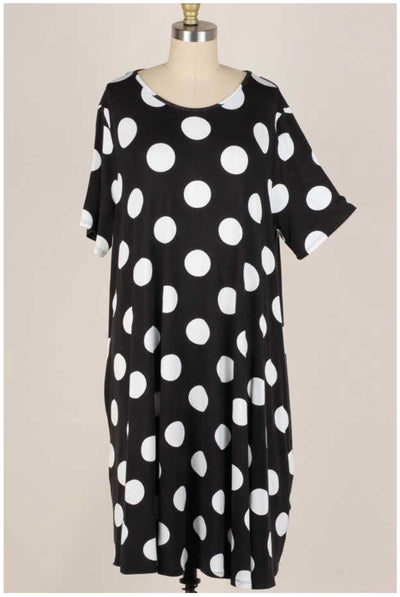 53 PSS-L {Time After Time} Black & White Polka Dot Dress Plus Size XL 2X 3X
