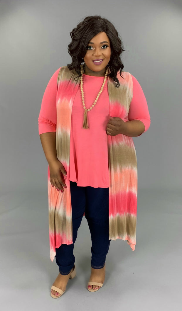 OT-S {Make Me Blush} Long Coral Peach Tie-Dye Vest PLUS SIZE 1X 2X 3X