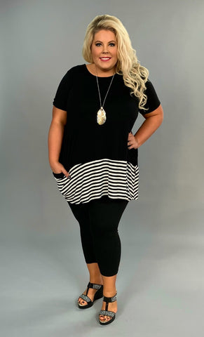 CP-D {Topsy-Turvy} Black Striped Contrast Tunic with Pockets