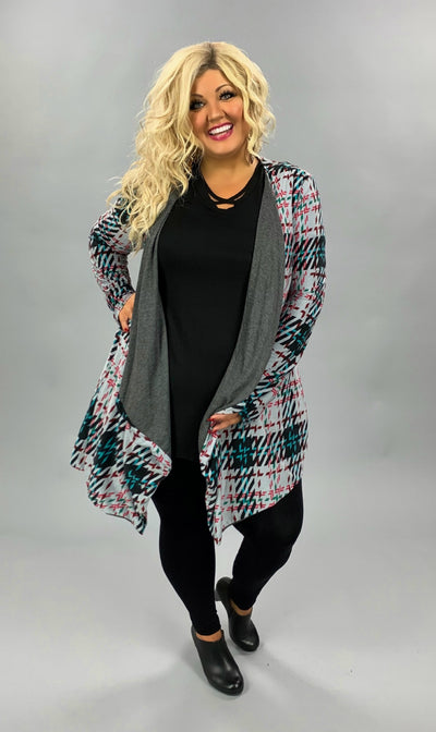 OT-P {On My Side} Grey Black Geo Print Cardigan PLUS SIZE XL 2X 3X
