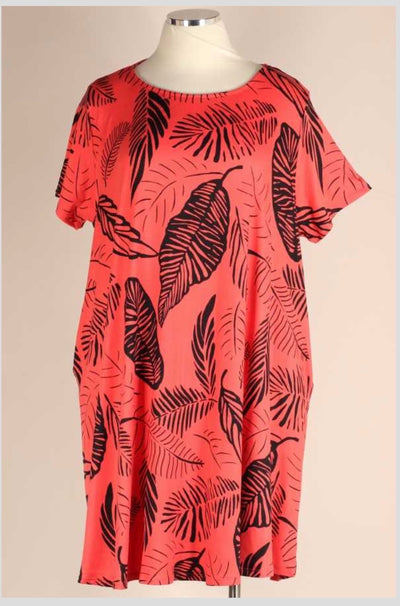PSS-T {Throw & Go} Coral Leaf Print Dress W/Pockets BUTTER SOFT EXTENDED PLUS SIZE 3X 4X 5X